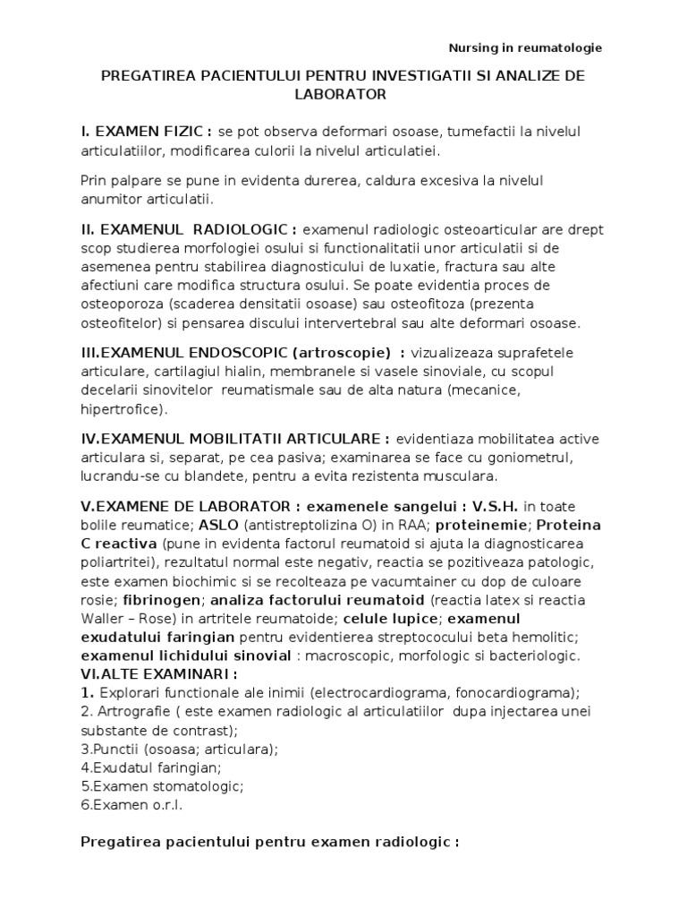 analiza și examinarea pacienților cu boli articulare)