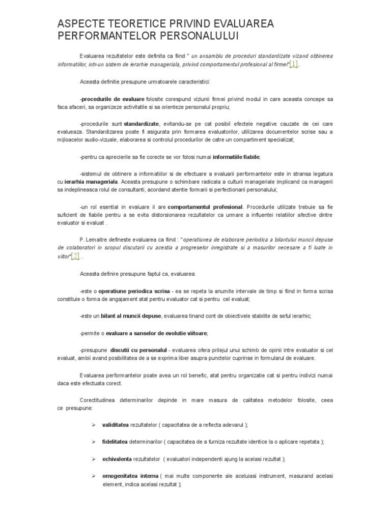 Evaluarea preparatelor comune)